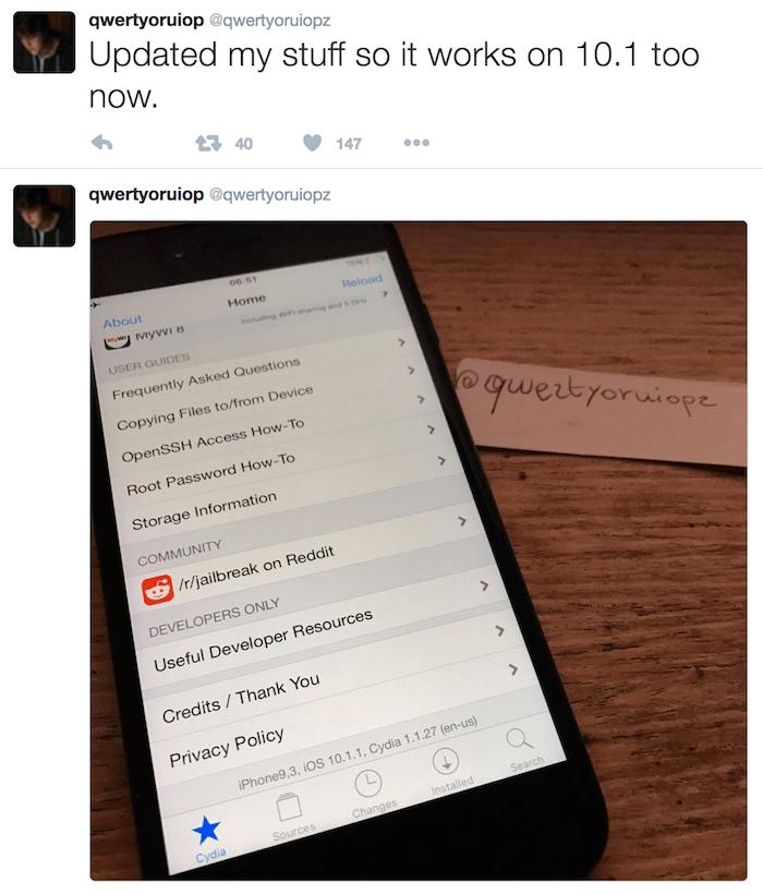 Todesco再次炫耀iPhone 7上運行iOS 10.1.1越獄成功照片