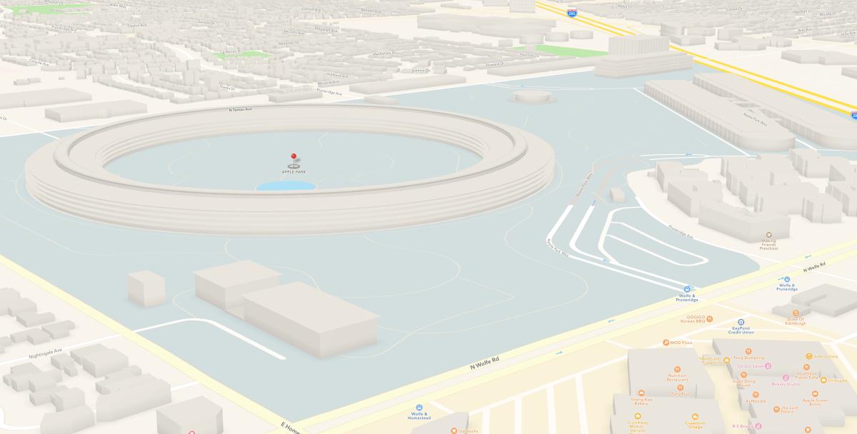 蘋果地圖已經加入新總部蘋果公園Apple Park建築模型樣貌