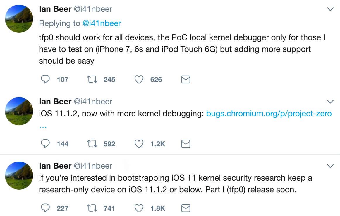 Google安全團隊成員已經釋出iOS 11.1.2越獄tfp0漏洞