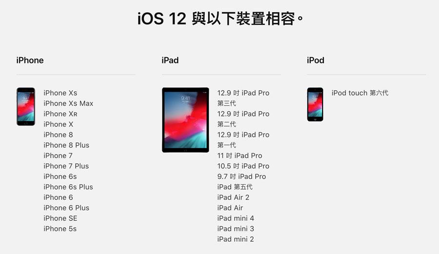 iOS 12支援設備名單內整理,最舊款iPhone5s設備也能支援