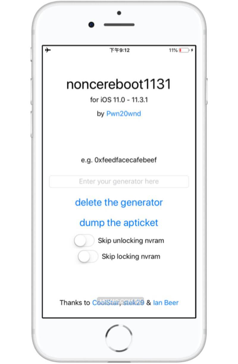 新一代iOS 11~iOS 11 3 1 固定Generator工具Noncereboot1131正式推出- 瘋先生