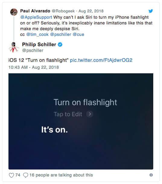 iOS 12隱藏技巧:靠Siri也能夠快速開啟與關閉手電筒
