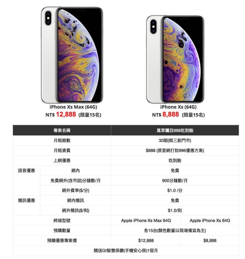 亞太電信 iPhone Xs / iPhone Xs Max 預購活動1