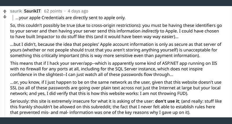 AppSigner Cydia之父Saurik不推薦使用