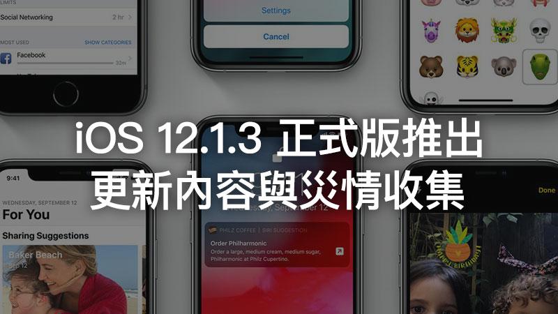 iOS 12.1.3 更新正式推出!修復照片橫線、CarPlay連線中斷、HomePod修正