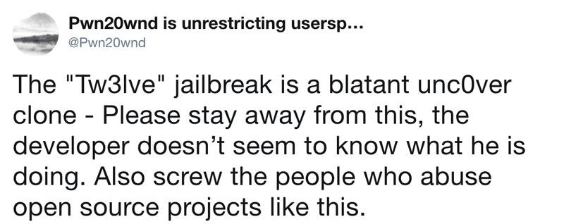 警告勿使用Tw3lve 越獄工具!完全來自複製unc0ver 代碼的產品2