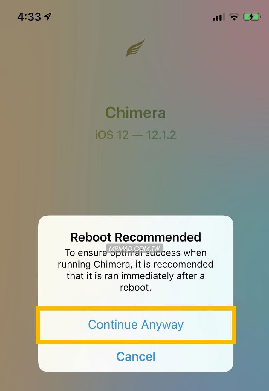 Chimera iOS 12 越獄教學2