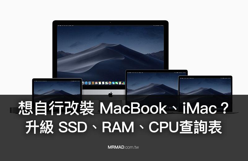 整理告訴你 MacBook、iMac 能不能自行升級換SSD 、RAM 及CPU
