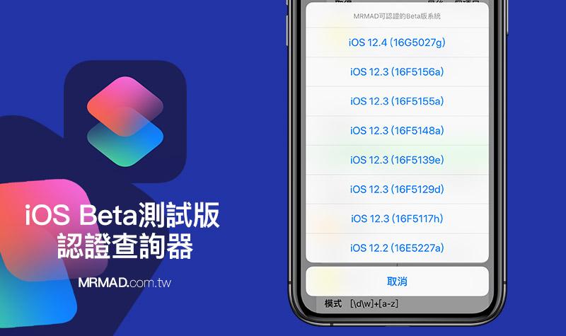 iOS Beta 測試版認證查詢 《捷徑》腳本工具