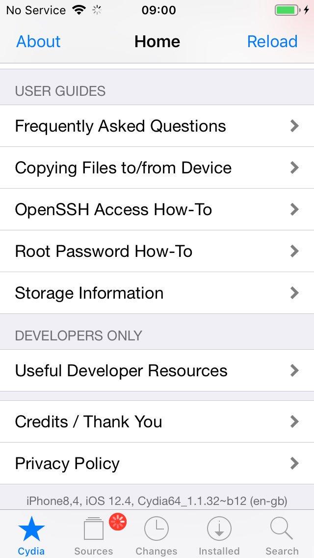iOS 12.4 成功越獄! 越獄開發者秀 iPhone SE 成功執行 Cydia 畫面