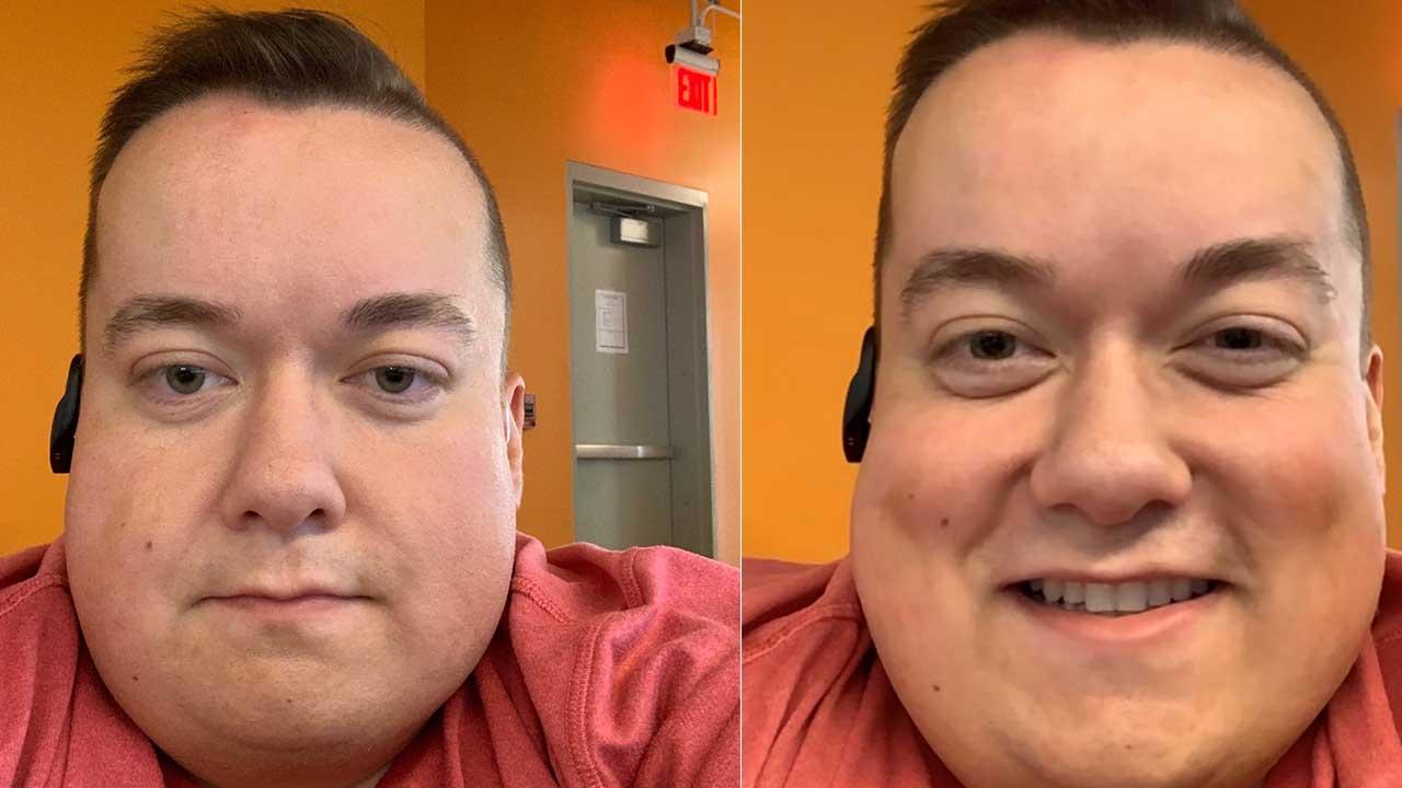 左圖沒注視攝影機鏡頭畫面,右圖iOS 13自動修正眼神效果
