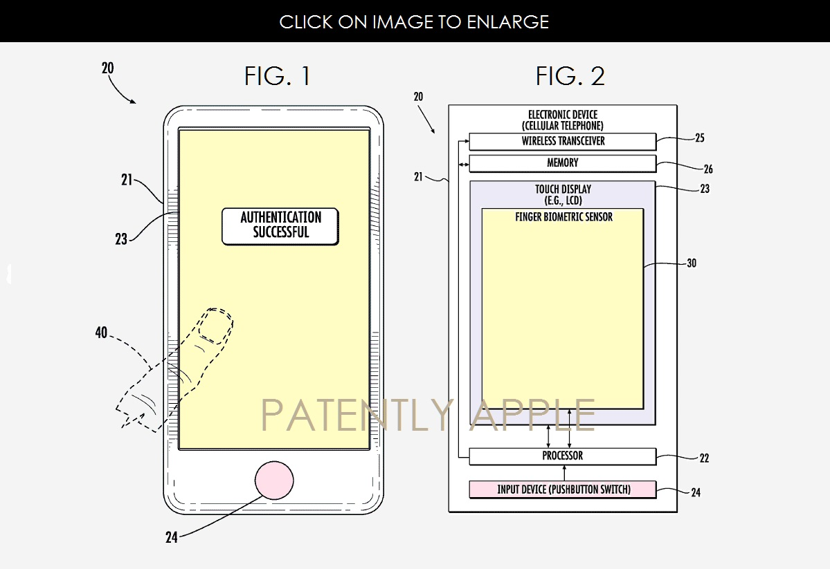 蘋果申請的螢幕下指紋辨識Touch ID專利