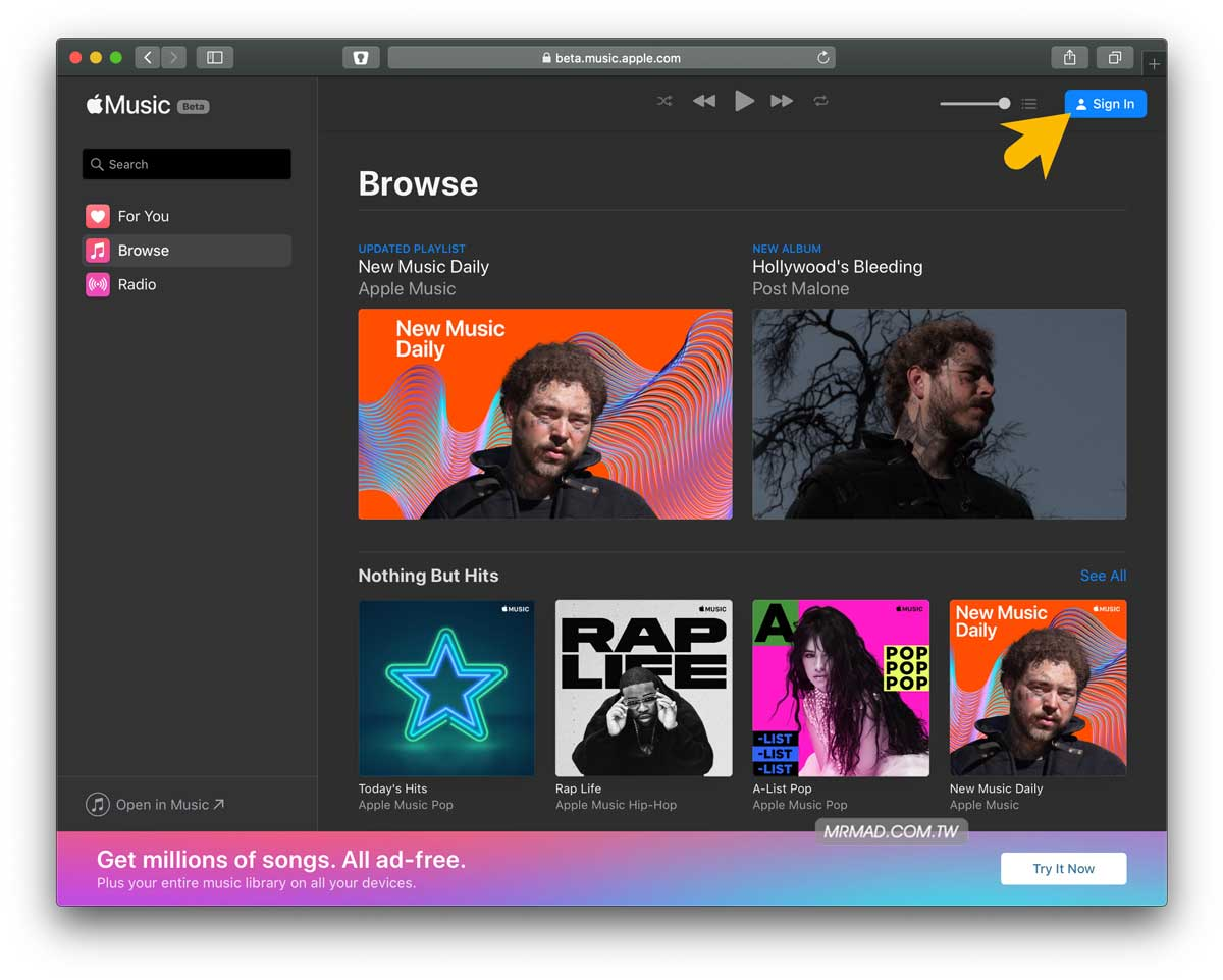 Apple Music網頁版播放器使用技巧:教你免iTunes用瀏覽器就能聽歌