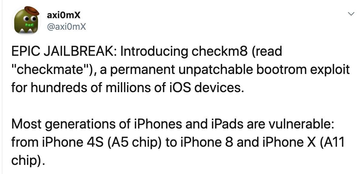 iPhone硬體漏洞代碼被公開!能讓數億台iOS設備降級和完美越獄