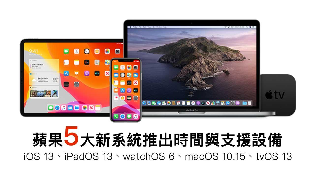 iOS 13、iPadOS 13、watchOS 6、macOS 10.15更新時間和支援設備