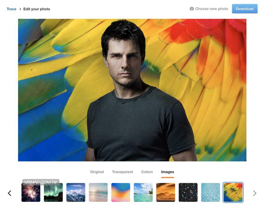免費線上去背網站Trace,直接一鍵替照片快速去背輸出透明圖