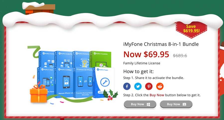 活動3.iMyFone聖誕8合1套裝 689美元特價69.95美元