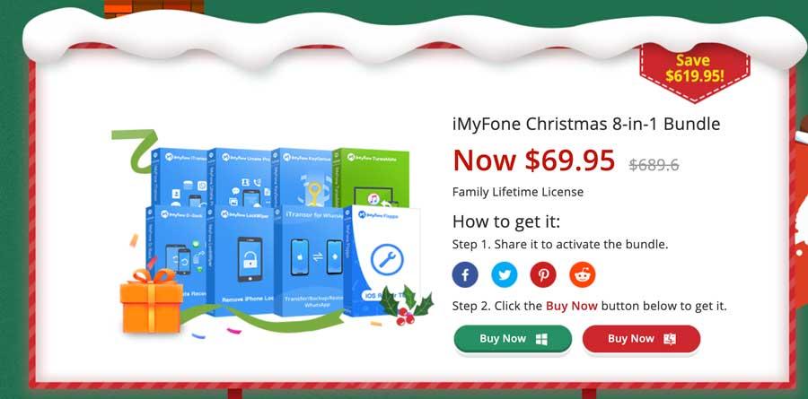 活動3.iMyFone聖誕8合1套裝 689美元特價69.95美元2