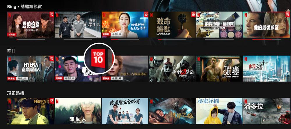 Netflix TOP10標籤