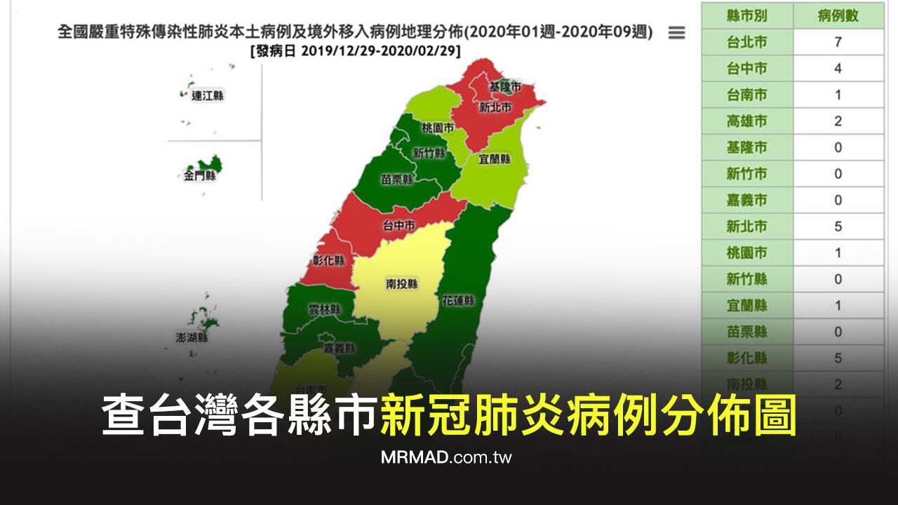 如何查台灣各縣市「新冠肺炎病例分佈圖」?透過衛福部網站告訴你