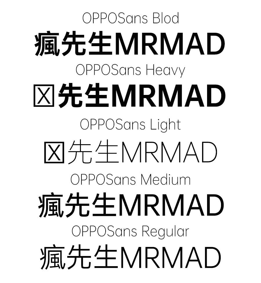 OPPO Sans 免費商用字體下載:具備現代科技感字體 共5種可使用