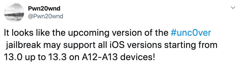 Pwn20wnd 會替 unc0ver越獄更新加入 iOS 13 支援 A12(x)~A13設備