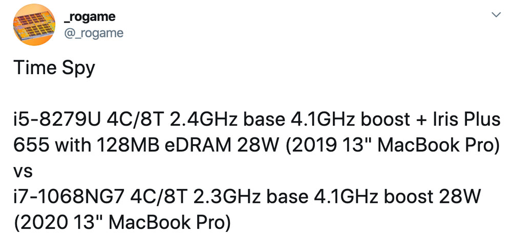 2020新款13吋MacBook Pro規格曝光,搭載新款10奈米處理器