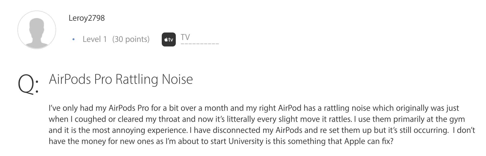 國外用戶在 Apple 社群上反應 AirPods Pro有雜音