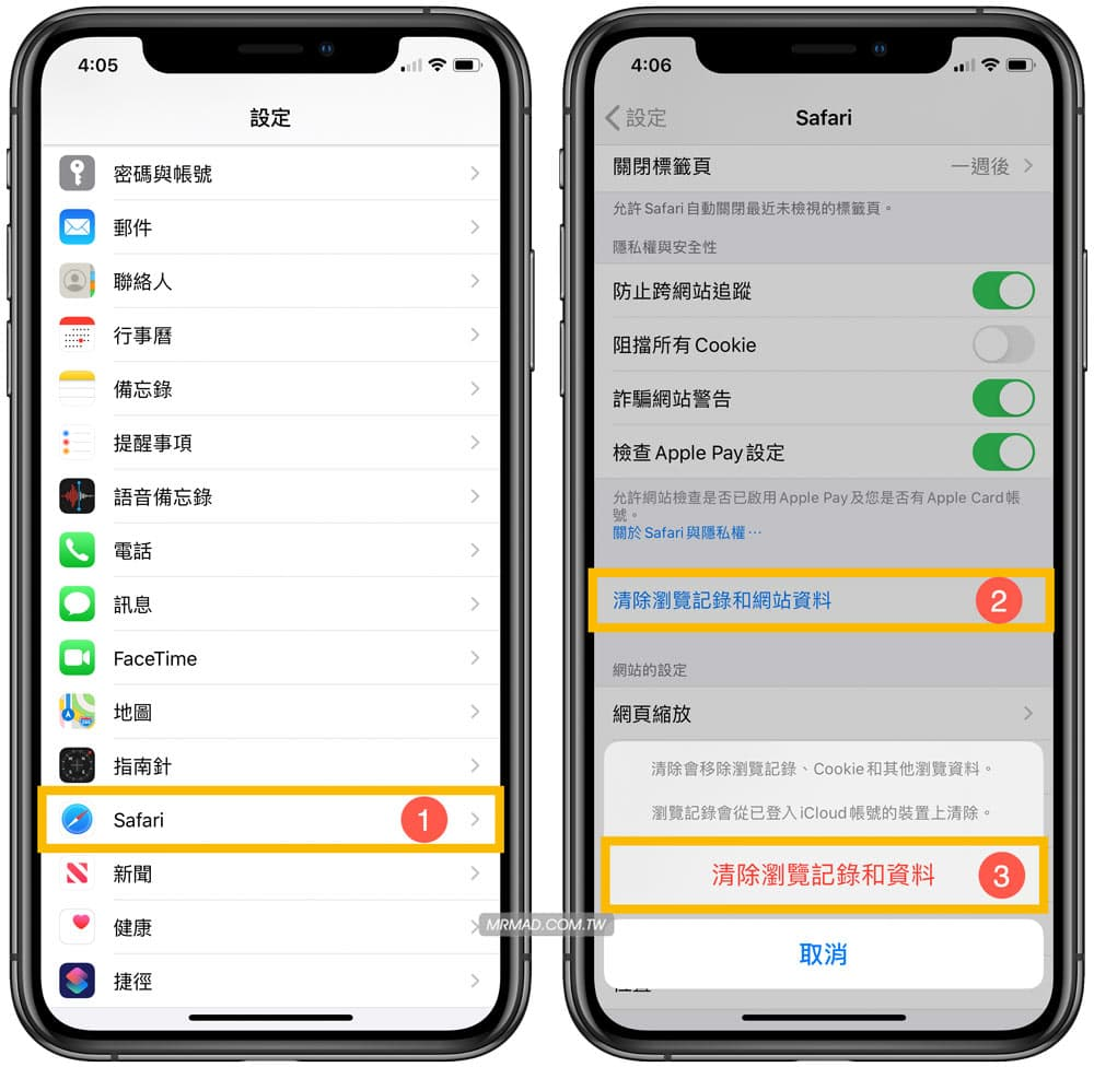 清除 iPhone 上的 Safari 瀏覽紀錄方法2