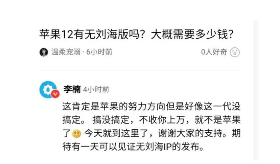 前魅族總裁李楠也曾表示 iPhone 瀏海設計問題