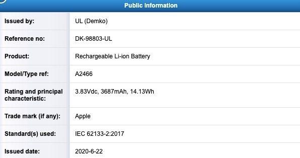 A2466 電池認證(iPhone 12 Max Pro)