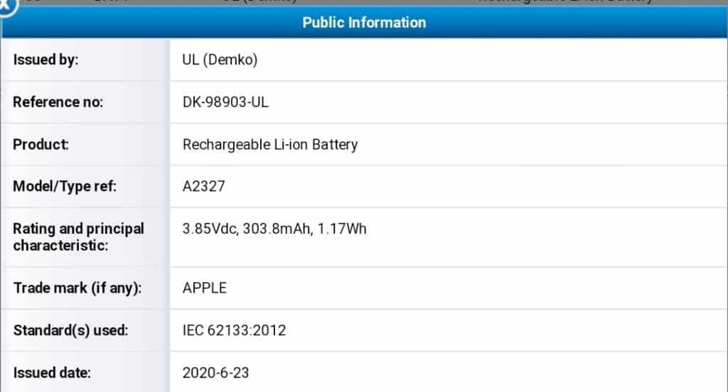 Apple A2327 電池認證資料提前曝光