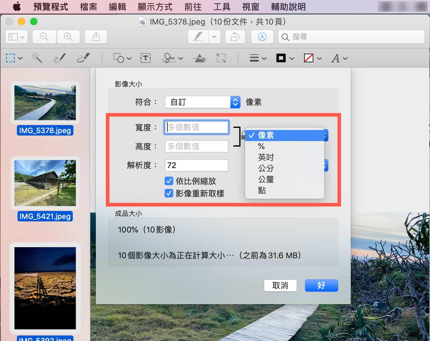 如何使用「預覽程式」批次壓縮圖像3