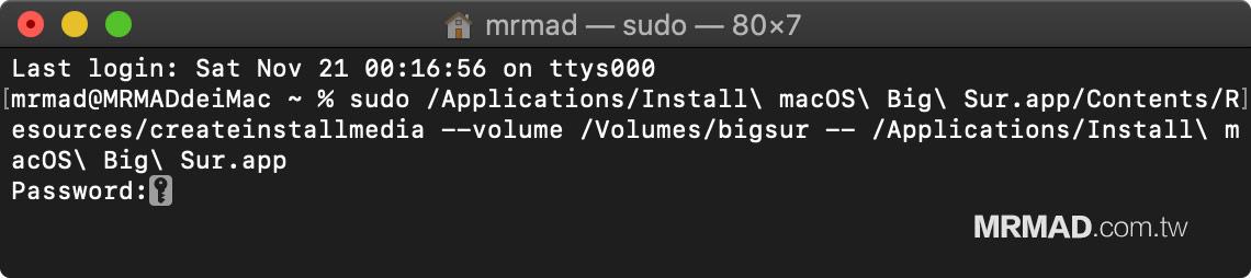 教你製作 macOS Big Sur USB系統安裝隨身碟