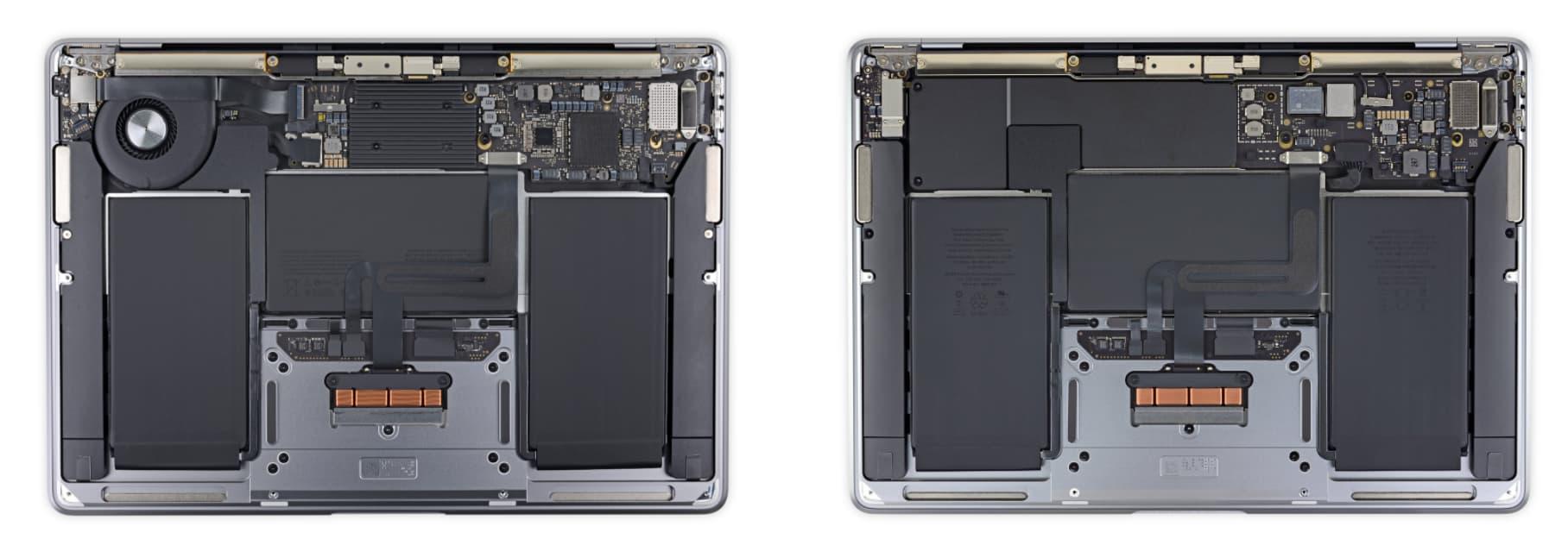 左:2020年初的MacBook Air、右:無風扇的新款MacBook Air。