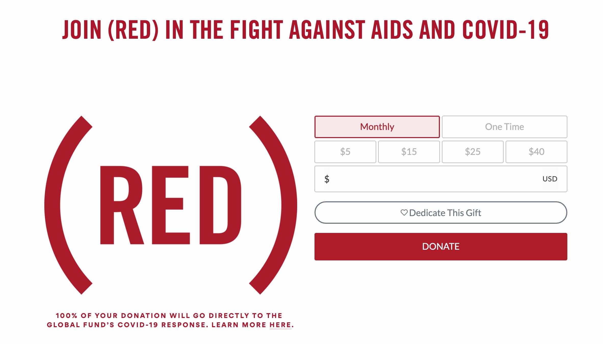 蘋果將 (RED) 指定收入 100% 捐出