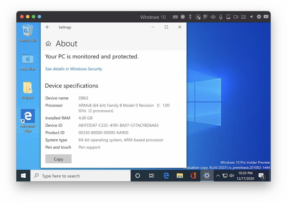 Parallels Desktop 釋出支援 M1 Mac 的 WIndows 10 預覽版本2