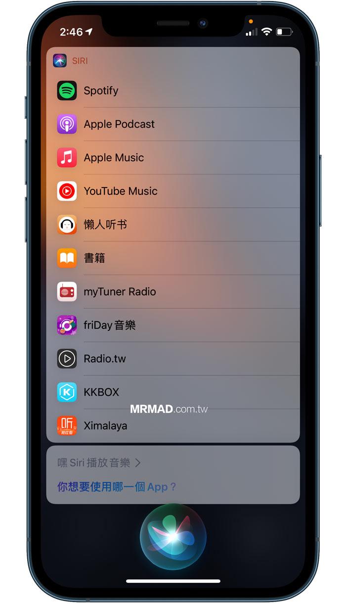 更改預設 Siri 音樂播放器
