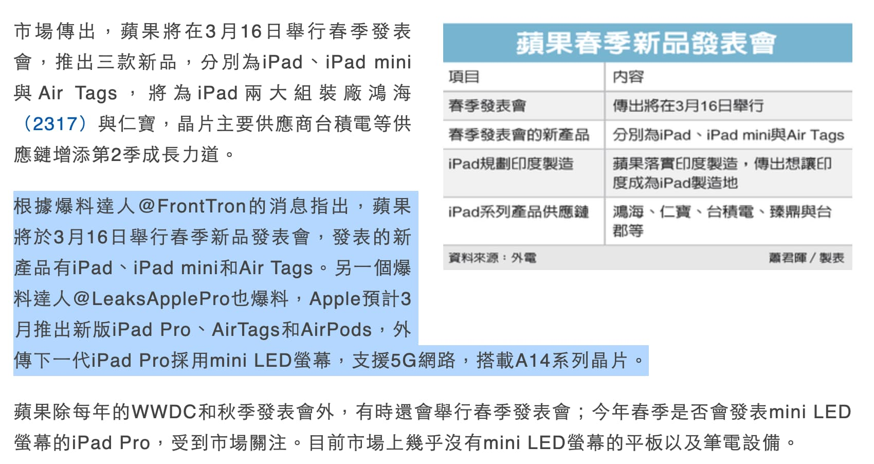 蘋果將在3/16舉行春季發表會?彭博社記者稱這是假消息