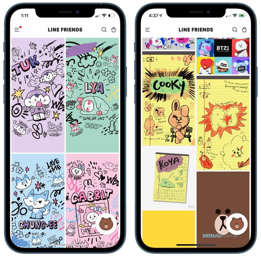 利用 Line Friends 下載各類桌布、照片和插圖