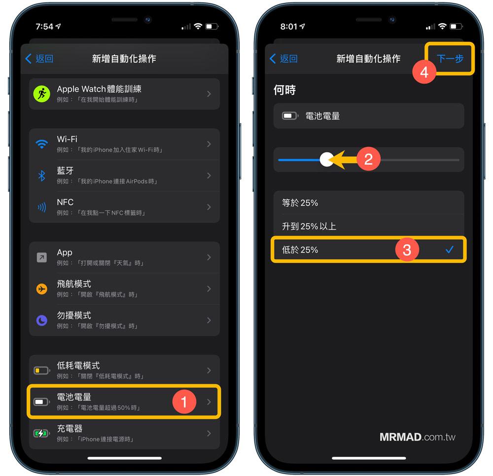 捷徑個人自動化:電量低於自動開啟iPhone低耗電模式和跳出通知1