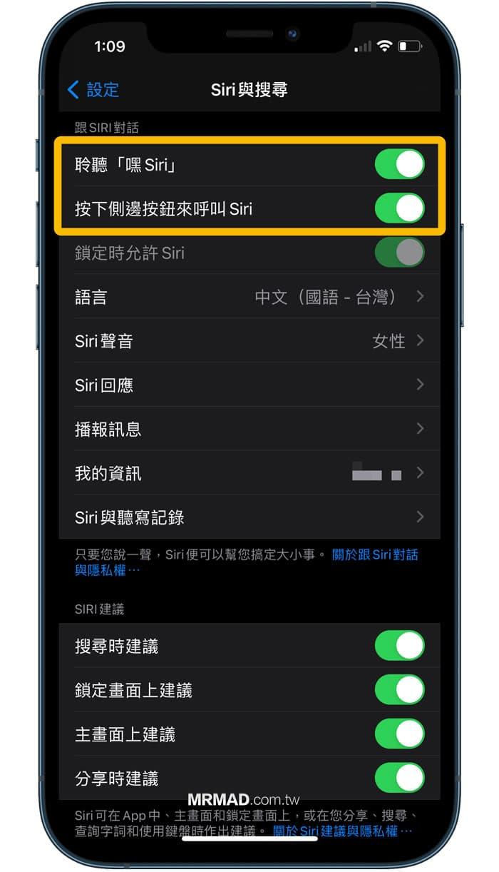 Siri 功能設定