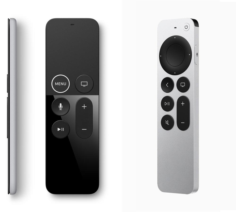 新舊款Siri Remote比較:左圖舊款Siri Remote,右圖為新款Siri Remote