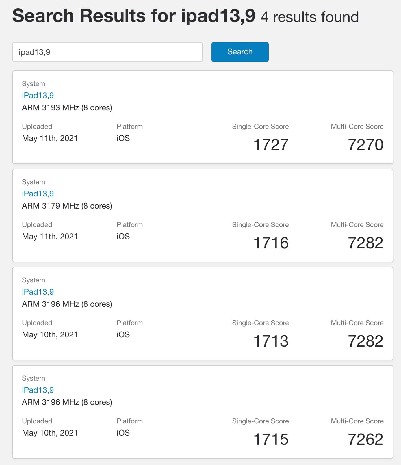 2021新版 M1 款 iPad Pro 2021跑分數據