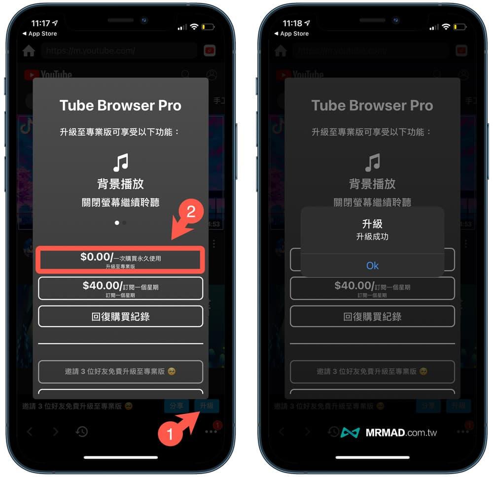 Tube Browser Pro 實現YouTube無廣告、支援背景播放/子母畫面 App(限免中)
