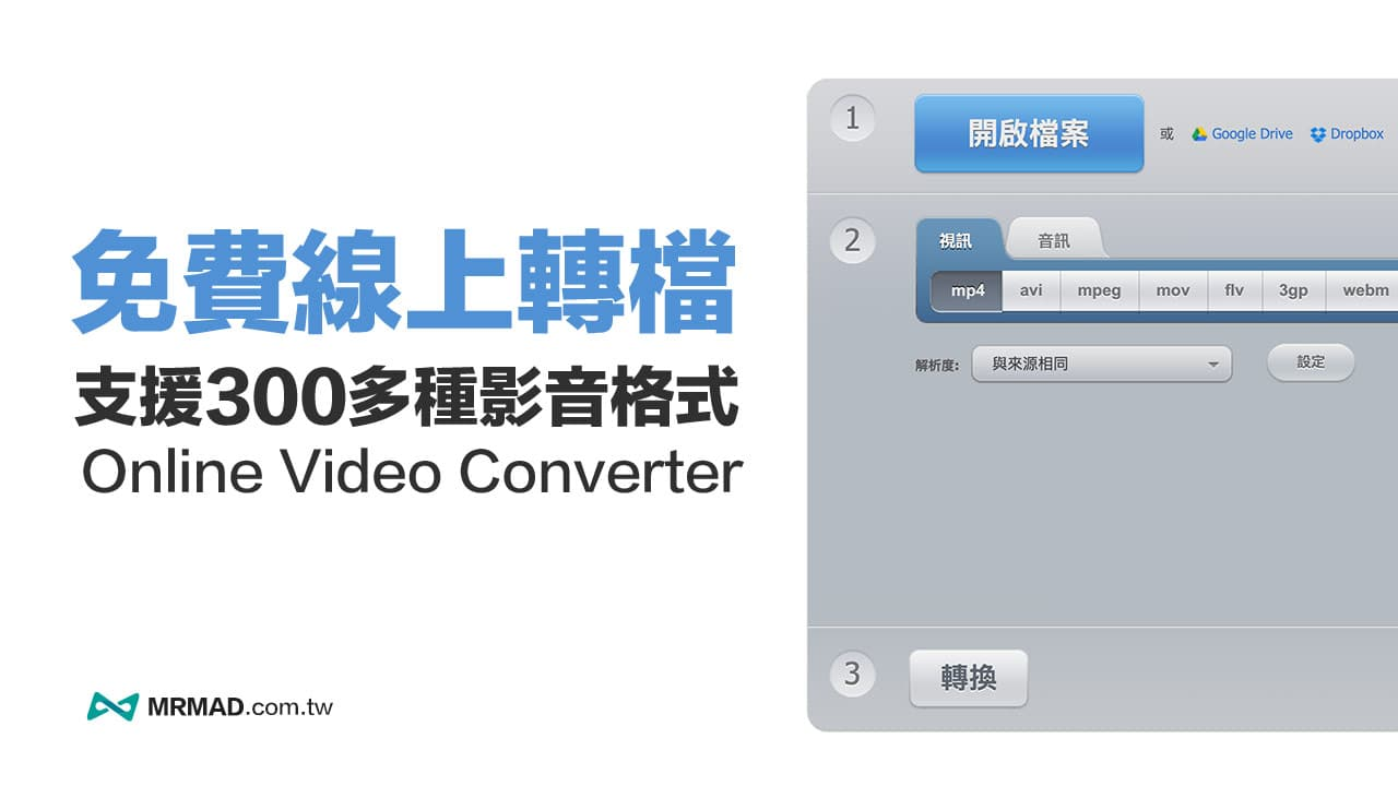 Online Video Converter 線上轉檔 支援轉換MP4、MP3、WMV等格式