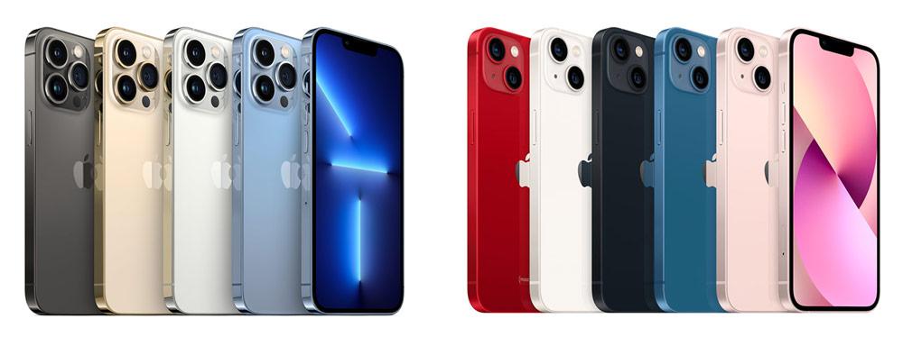 左為 iPhone 13 Pro 顏色,右為 iPhone 13 顏色